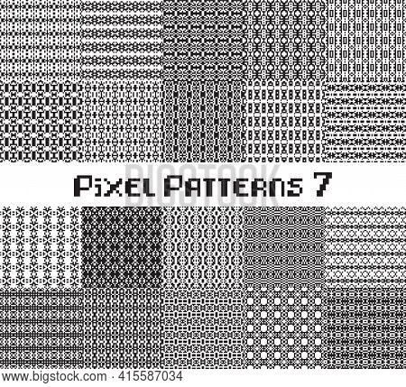 Pixel Pattern Seamless, Black And White Color. Patterns Set In Retro Design.