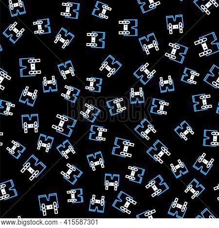 Line Lederhosen Icon Isolated Seamless Pattern On Black Background. Traditional Bavarian Clothing. O