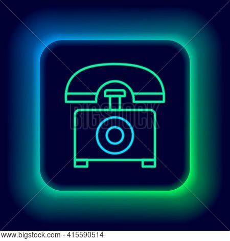 Glowing Neon Line Telephone Icon Isolated On Black Background. Landline Phone. Colorful Outline Conc