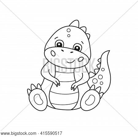 Cute Little Dinosaur For Kid Coloring Book. Baby Tyrannosaurus. Children Puzzle Game. Black And Whit