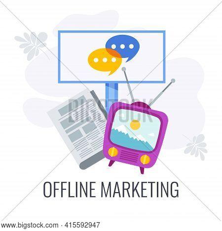 Offline Marketing Flat Vector Icon. Traditional Offline Marketing.