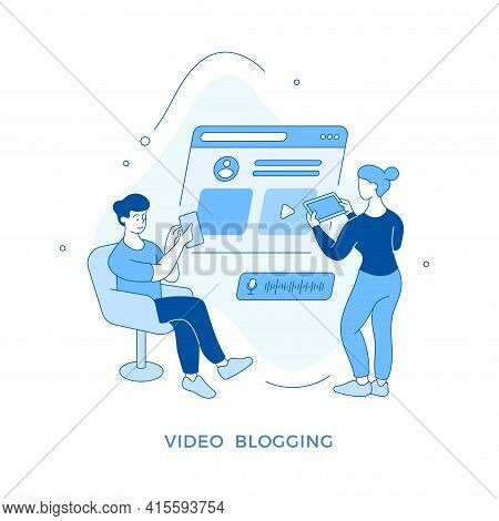 Linear Flat Video Blogging Concept Illustration. Male And Female Cartoon Characters Making Content F