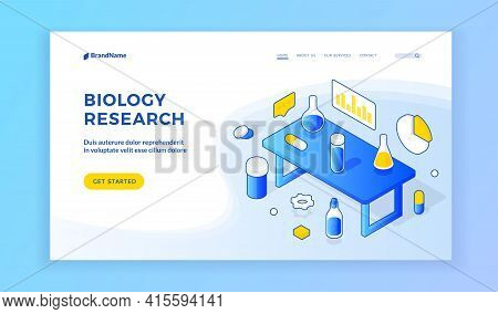 Biology Research. Landinng Wesite Banner Template. Vector Isometric White Blue Design Of Home Page O