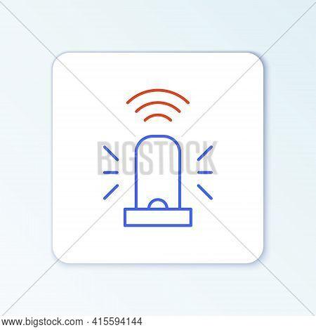 Line Smart Flasher Siren System Icon Isolated On White Background. Emergency Flashing Siren. Interne