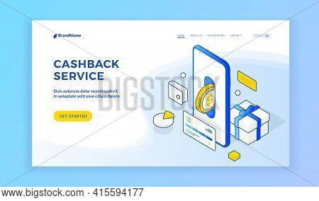 Cashback Service. Landing Page Website Banner Template. Vector Isometric Illustration Of Smartphone