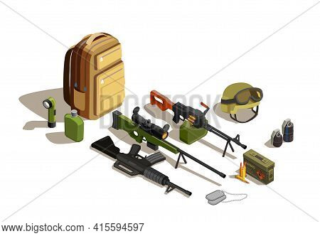 Army Personnel Military Kit With Individual Combat Weapon Shotgun Rifle Hand Grenades Flask Backpack