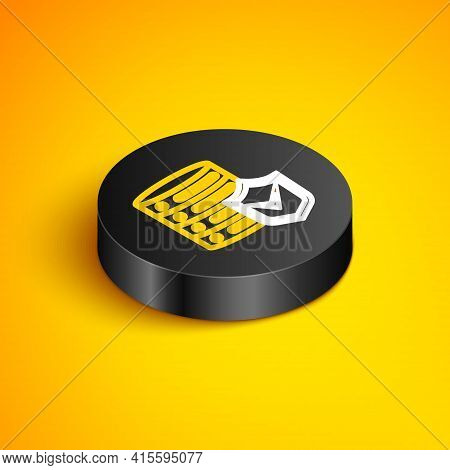 Isometric Line Server With Shield Icon Isolated On Yellow Background. Protection Against Attacks. Ne