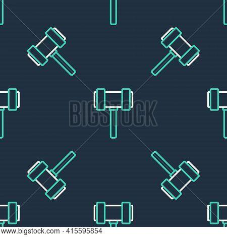 Line Judge Gavel Icon Isolated Seamless Pattern On Black Background. Gavel For Adjudication Of Sente