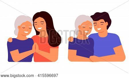 Old Senior Mother And Adult Son And Daughter Are Hugging. Family Love, Taking Care Of Grandmother. M