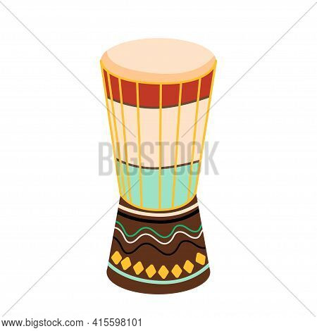 Ethnic Tambourine Drum Pattern Background. Abstract Bright Colored Ethnic African Drum For Design To