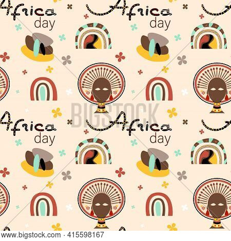 Ethnic African Seamless Pattern Background. African Traditional Tribal Symbols Seamless Pattern For