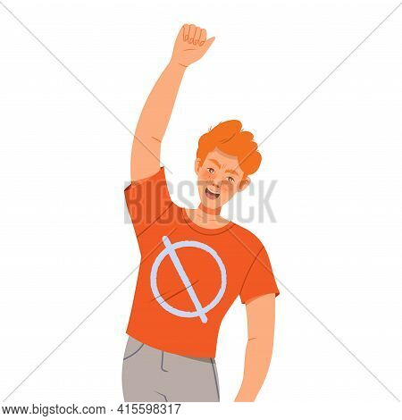 Redhead Man Raising His Hand Up And Shouting Supporting Street Protest Against Human Rights Violatio