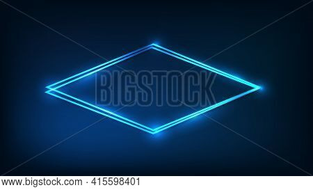 Neon Double Rhombus Frame With Shining Effects On Dark Background. Empty Glowing Techno Backdrop. Ve