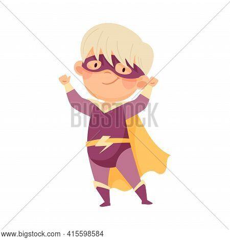 Little Boy Wearing Cape And Mask As Superhero Pretending Having Power For Fighting Crime Vector Illu