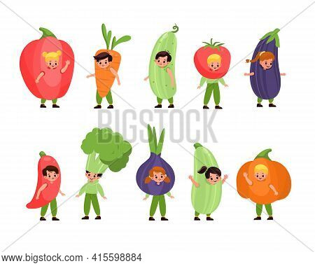 Kids Vegetables Dressed. Children Costume Party, Fancy Little Fruits, Cute Happy Boys And Girls Wear