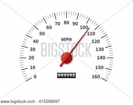 Speedometer. Realistic Odometer Interface. Speed Meter With Red Arrow And Miles Measuring Scale. Veh