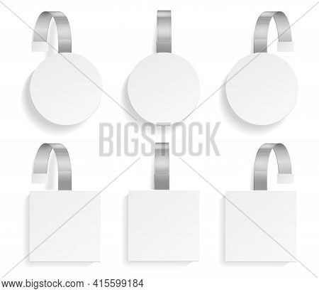Template Wobbler Set. Realistic Mockup Wobblers Pointing Price, 3d Plastic Hanging Tags Different Fo