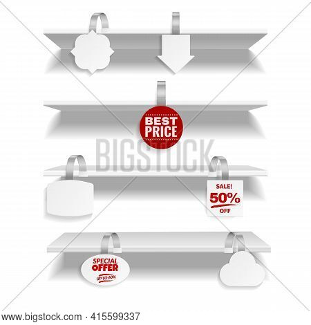 Shelves With Wobbler. Realistic Discount Tags Hanging On Store Rack. 3d Advertising Promotional Labe