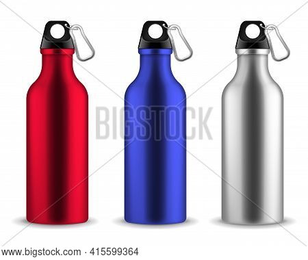 Water Metal Bottle. Reusable Drinking Blank Bottles With Lid And Carabiner, Drink Aluminum Fitness F