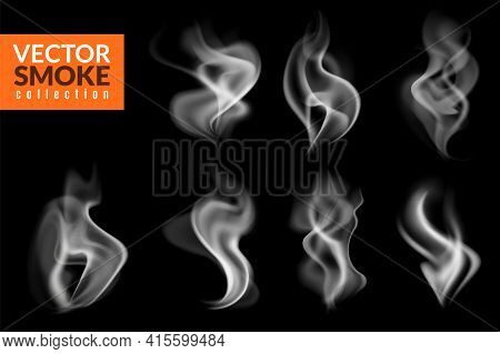 White Smoky Wisps. Realistic Evaporation And Burning Traces Collection, Hot Food Steam, Cigarette Or