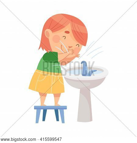 Cute Girl Standing On Stool Near Wash Stand Washing Her Face Engaged In Personal Hygiene Vector Illu