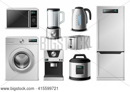 Kitchen Appliance. Realistic Electronic Household Equipment, 3d Domestic Cooking Devices. Modern Was