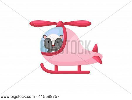 Cute Little Skunk Pilot In Pink Helicopter. Cartoon Character For Childrens Book, Album, Baby Shower