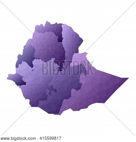 Ethiopia Map. Geometric Style Country Outline. Immaculate Violet Vector Illustration.