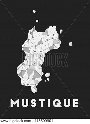 Mustique - Communication Network Map Of Island. Mustique Trendy Geometric Design On Dark Background.