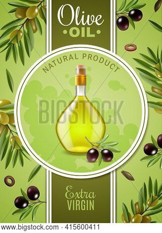 Extra Virgin Olive Oil Poster With Advertising Of Natural Product And Glass Bottle With Cork Stopper