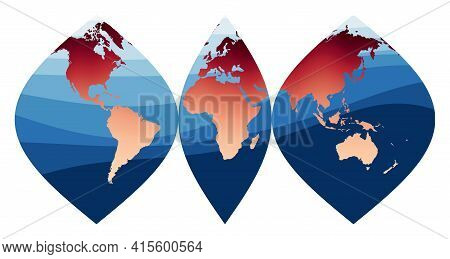 World Map Vector. Interrupted Sinusoidal Projection. World In Red Orange Gradient On Deep Blue Ocean