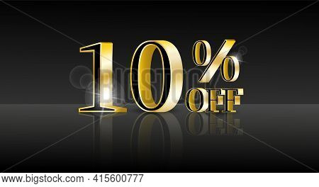10% Off. Trendy 3d Design Template With Black Banner For Marketing Advertising Design. Business Tech