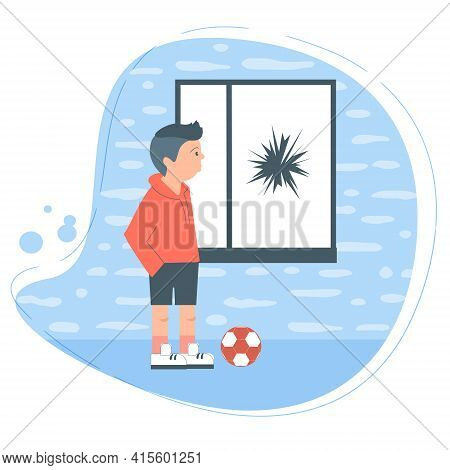 The Teenager Broke The Glass In Someone Else S Window With A Ball. Bad Behavior Of The Child, Destru
