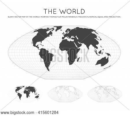 Map Of The World. Mcbryde-thomas Flat-polar Parabolic Pseudocylindrical Equal-area Projection. Globe