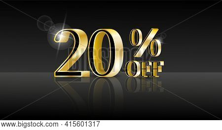 20% Off. Trendy 3d Design Template With Black Banner For Marketing Advertising Design. Business Tech