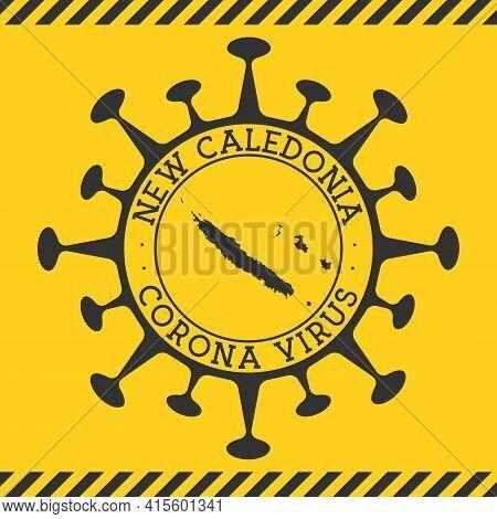 Corona Virus In New Caledonia Sign. Round Badge With Shape Of Virus And New Caledonia Map. Yellow Co