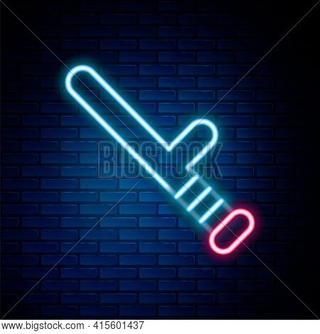 Glowing Neon Line Police Rubber Baton Icon Isolated On Brick Wall Background. Rubber Truncheon. Poli
