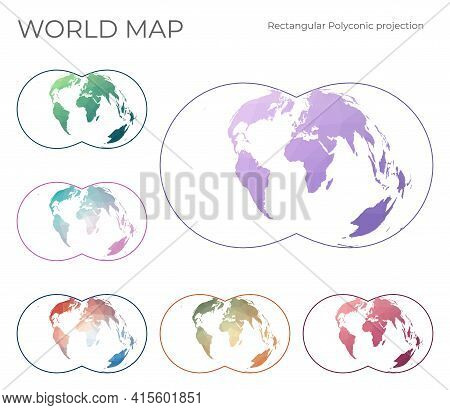 Low Poly World Map Set. Rectangular (war Office) Polyconic Projection. Collection Of The World Maps
