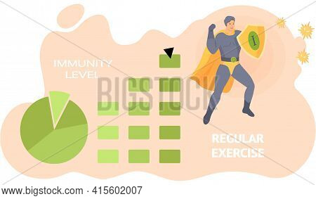 Superhero Shield Protects Human Health And Immunity And Beats Viruses. Daily Exercise And Sports
