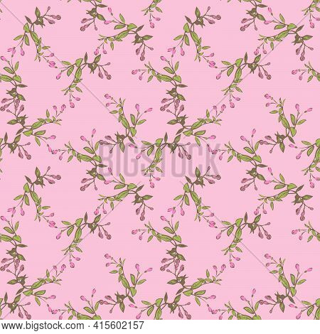 Hand Drawn Chamomile Flowers, Floral Bloom Seamless Pattern Abstract Background Wallpaper Vector. Li