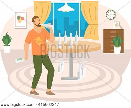 Guy Drinks Alcohol Alone In Living Room. Drunk Man With Vodka In His Apartment Vector Illustration