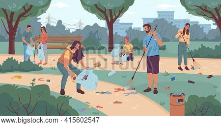 People Volunteers Cleaning Up City Park Flat Cartoon Characters. Vector Team Of Active Adults And Ki