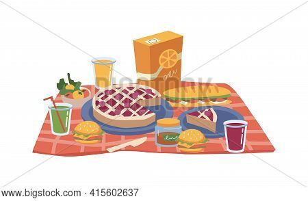 Cartoon Picnic Food And Drinks, Pack Of Juice, Snacks, Sandwiches And Bakery Cake, Hamburger And App