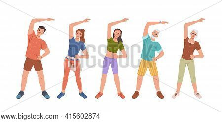 Cartoon People Training Together Stretching Hand Aside, Yoga Fitness Classes. Vector Flat Cartoon Pe