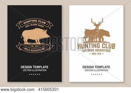 Hunting Club Badge. Eat, Sleep, Hunt. Vector Illustration Flyer, Brochure, Banner, Poster Design Wit