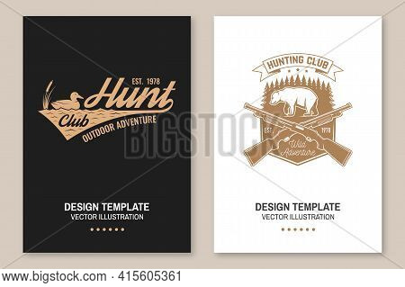 Hunting Club. Vector Flyer, Brochure, Banner, Poster Design With With Duck On A Water, Hunting Gun,