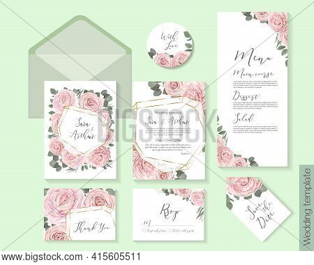 Floral Design For Wedding Invitation. Gold Frame In The Shape Of A Crystal, Pink Roses, Green Plants