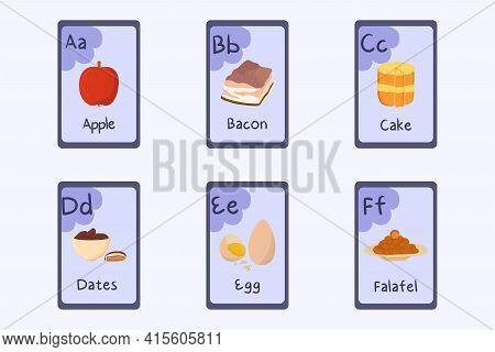 Colorful Alphabet Flashcard Letter A, B, C, D, E, F - Apple, Bacon, Cake, Dates, Egg, Falafel.