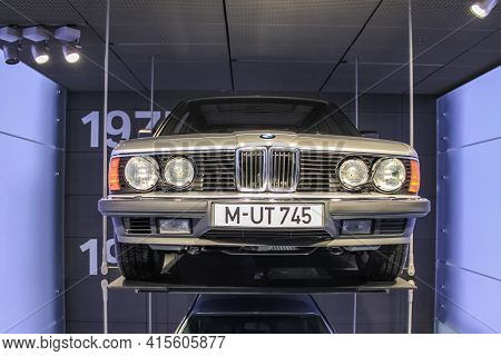 Germany, Munich - April 27, 2011: Bmw 745 In The Body Of The E23 In The Exhibition Hall Of The Bmw M
