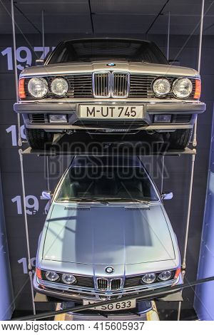 Germany, Munich - April 27, 2011: Bmw 745 And 633 In The Body Of E23 And E24 In The Exhibition Hall